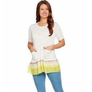 LOGO S White Yellow Tunic Top Stretch Knit Ruffle